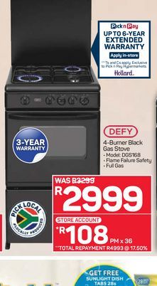 Defy Gas Stove offers at R 2999