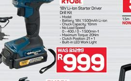Ryobi Driver Drill offers at R 999
