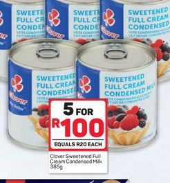 Clover Condensed Milk 5 offers at R 100